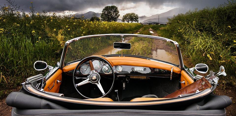 Auto, Vehicle, Drive, Cabriolet, Porsche, Lane, Rain