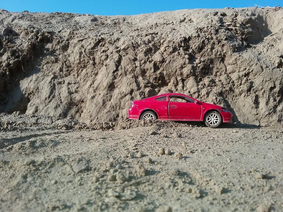 Desert, Mountains, Car, Auto, Red, Toy
