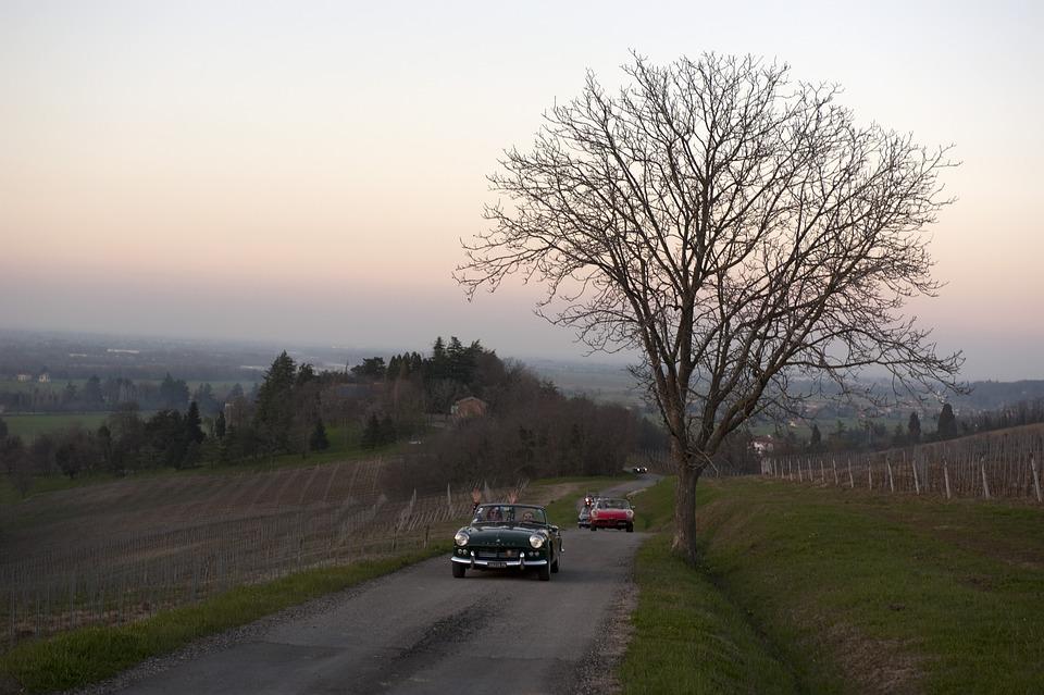Tuscany, Auto, Sunset, Sky, Landscape, Car, Vintage Car