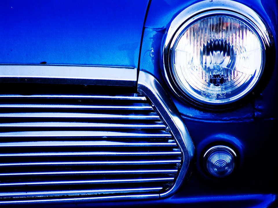 Car, Front, Light, Blue, Mini, Vehicle, Automobile
