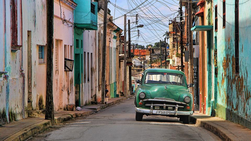 Cuba, Oldtimer, Auto, Automotive, Vehicle, Blue, Green
