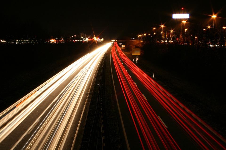 Long Exposure, Autos, Lights, Road, Night, Light