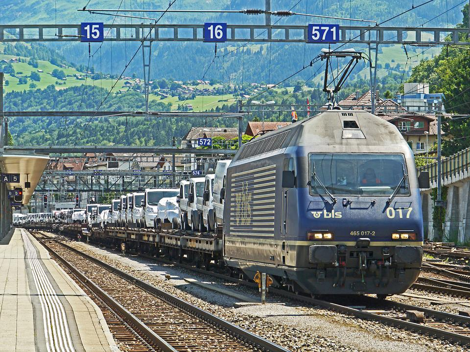 Freight Train, Autotransporter, Alpine Crossing, Spiez