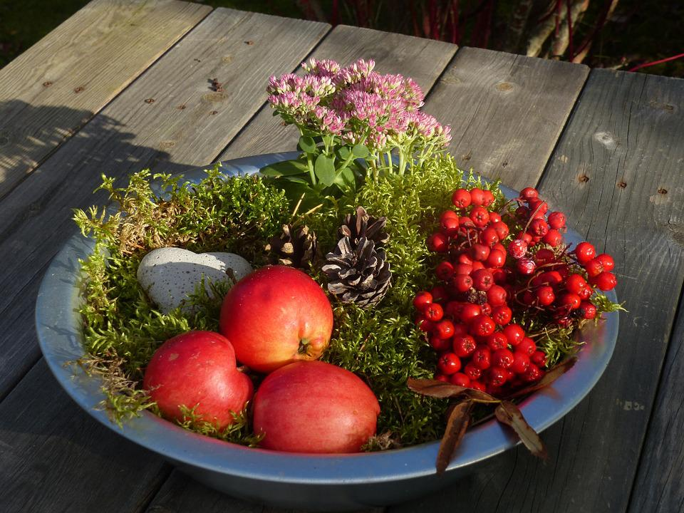 Autumn Arrangement, Decoration, Moss, Apples