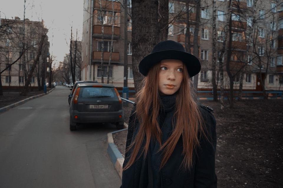 Street, Girl, City, Outdoors, Fashion, Portrait, Autumn