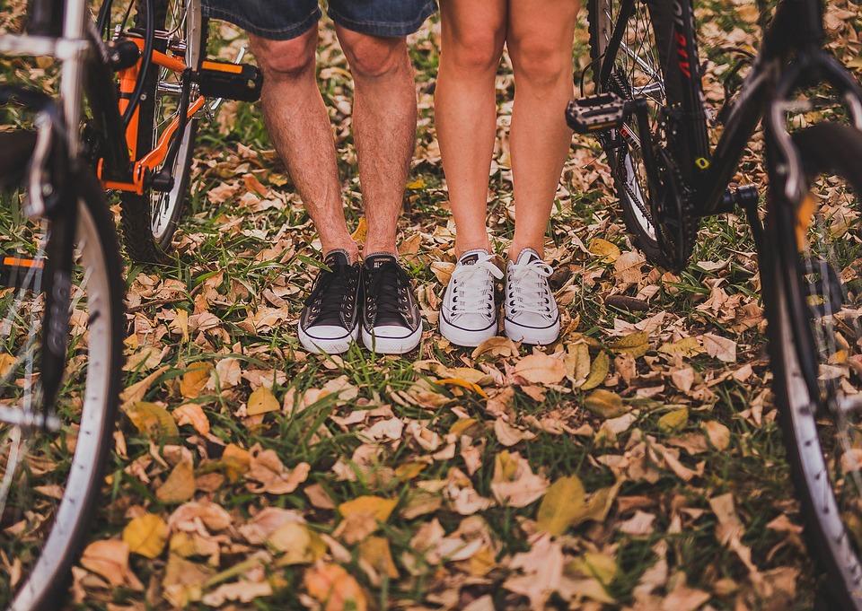 Adult, Autumn, Autumn Leaves, Bicycles, Bikes, Couple