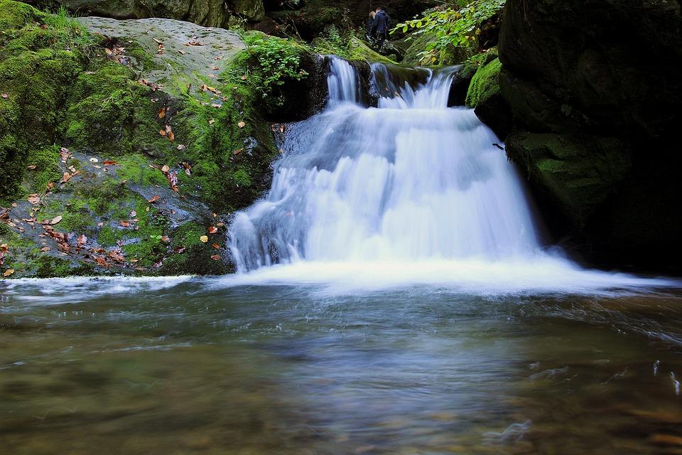 Waterfall, Cascade, Flowing Water, Autumn, River