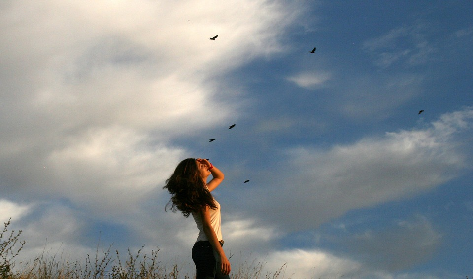 Girl, Cloud, Birds, Sky, Autumn, Beauty
