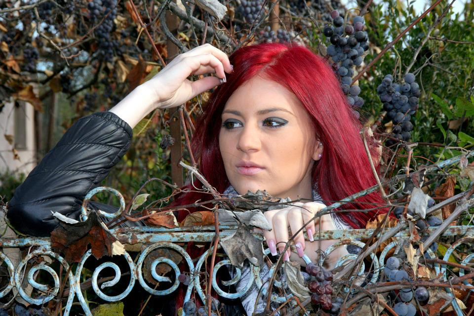 Girl, Grapes, Red Hair, Autumn, Harvest, Beauty