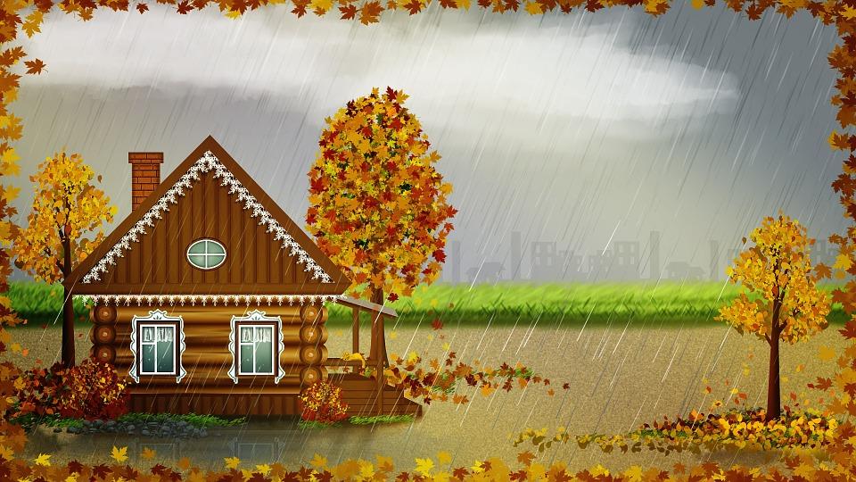 Autumn, Landscape, Home, Rural, Rain, Trees, Leaf