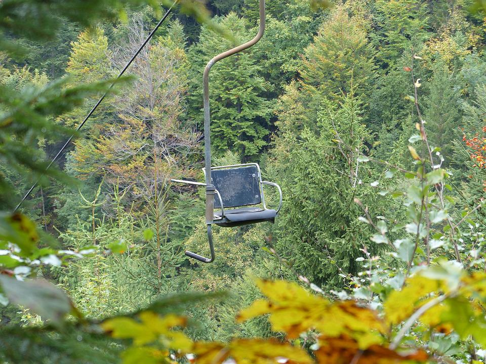 Chairlift, Autumn, Mountains, Lonely, Nature, Fir, Pine