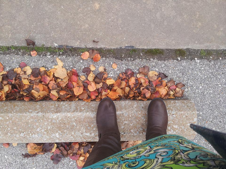 Fall, Boots, Autumn, Female, Weather, Outdoor, Leaves