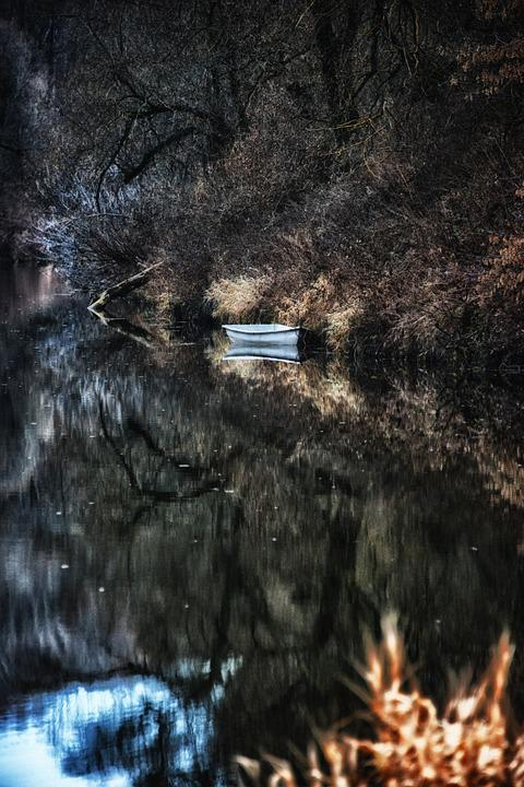 River, Quiet River, Autumn, Autumn On The River, Boat