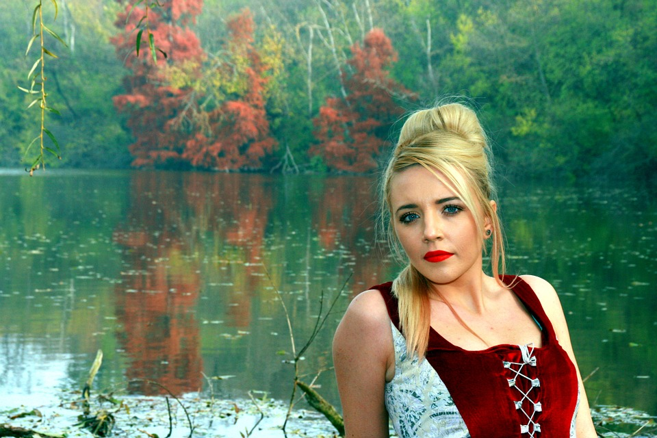 Girl, Lake, Autumn, Forest, Reflection, Red, Princess