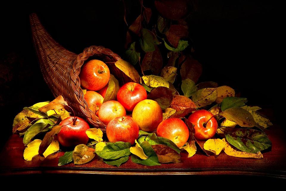 Cornucopia, Apples, Autumn, Red, Yellow, Still Life