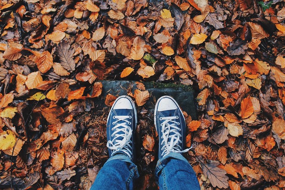 Hipster, Shoes, Feet, Foliage, Autumn