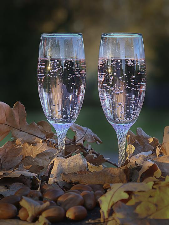 Glasses, Autumn, Sparkling, Champagne, Two
