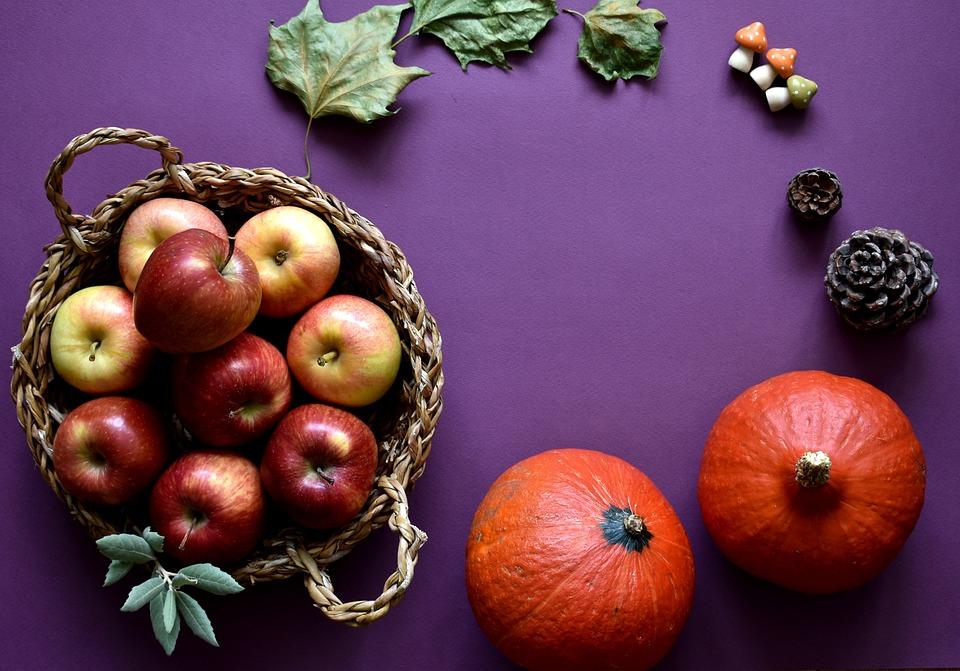 Autumn, Apples, Basket, Fruit, Pumpkins, Still Life