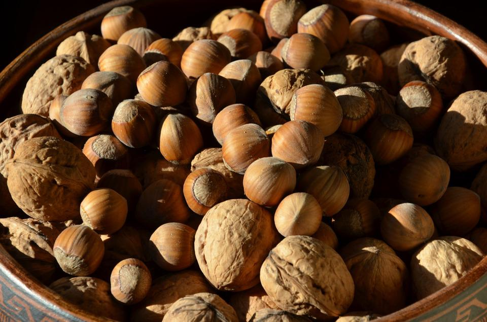 Nuts, Hazelnuts, Walnuts, Autumn, Brown, Tasty, Food