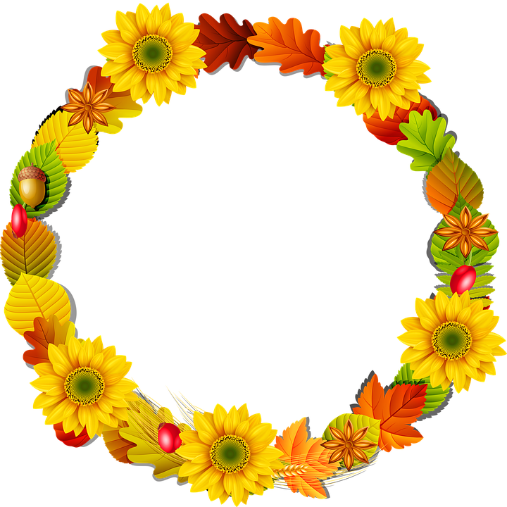 Autumn Wreath, Sunflowers, Autumn Leaves, Red Green