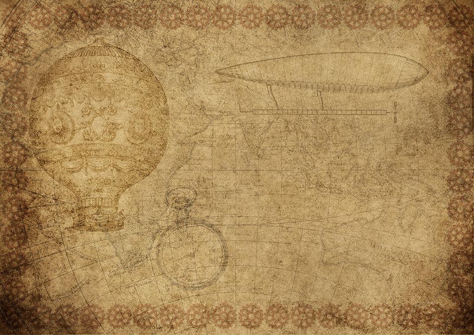 Zeppelin, Hot Air Balloon, Aviation, Clock, Drawing