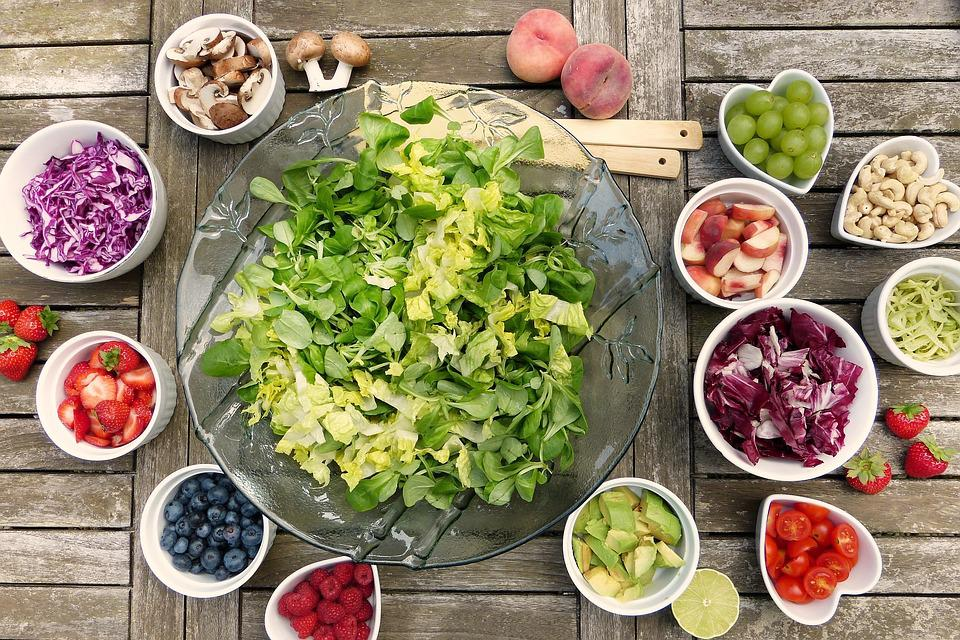 Salad, Fruits, Fruit, Berries, Nuts, Avocado, Radicchio