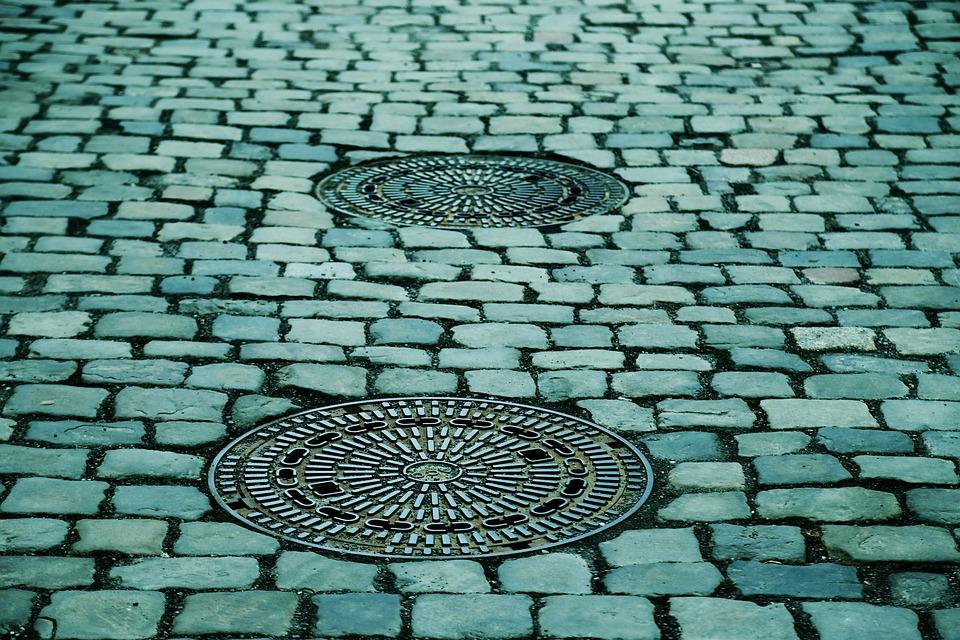 Manhole Covers, Gulli, Gullideckel, Away, Paving Stones