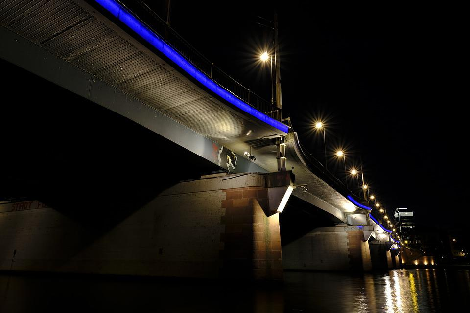 Bridge, Connection, Away, Water, Mirroring, Lights
