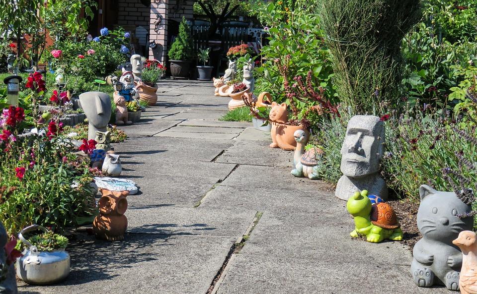 Away, Garden, Figures, Stone Figures, Plant, Pots