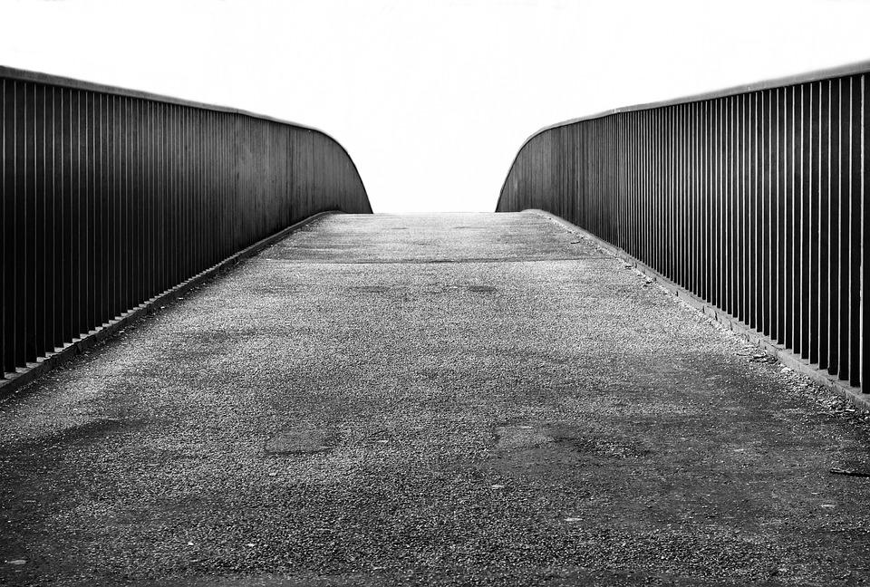 Bridge, Away, Railing, Black White, Walk, Transition