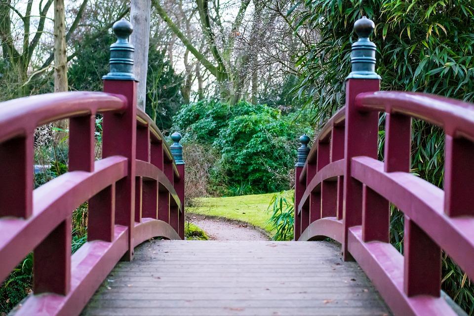 Bridge, Japanese Garden, Railing, Bridge Railing, Away