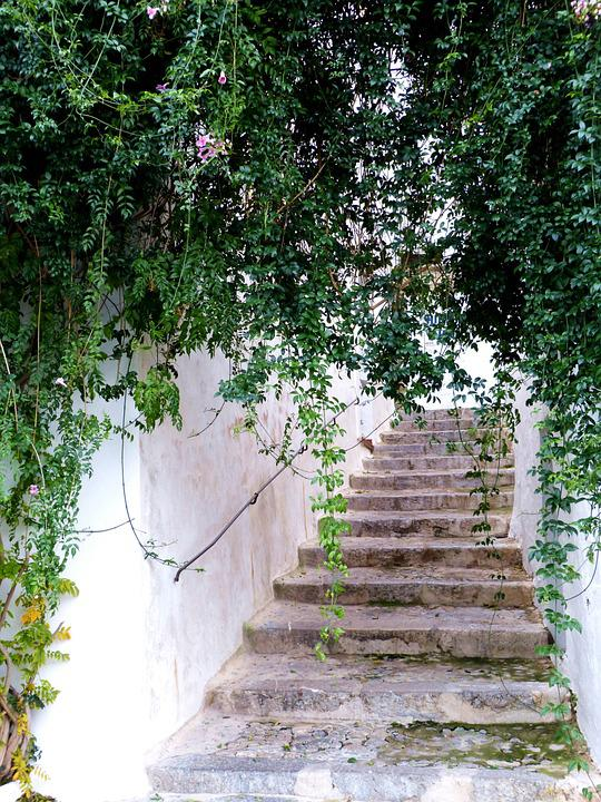 Stairs, Spain, Plant, Old Town, Gradually, Alley, Away