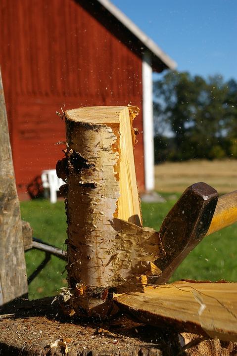 Axe, Wood, Birch, Barn