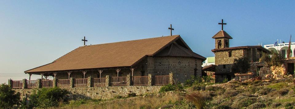 Cyprus, Ayia Napa, Church, Stone, Wood, Architecture