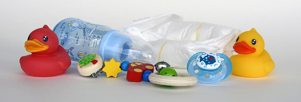 Ducks, Toys, Baby Bottle, Diapers, Pacifier