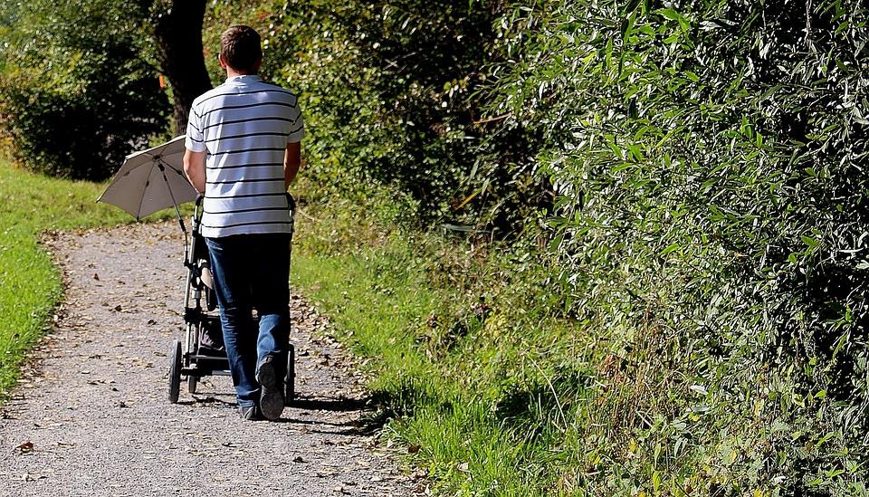 Nature, Man, Baby Carriage, Parasol, Walk, Promenade