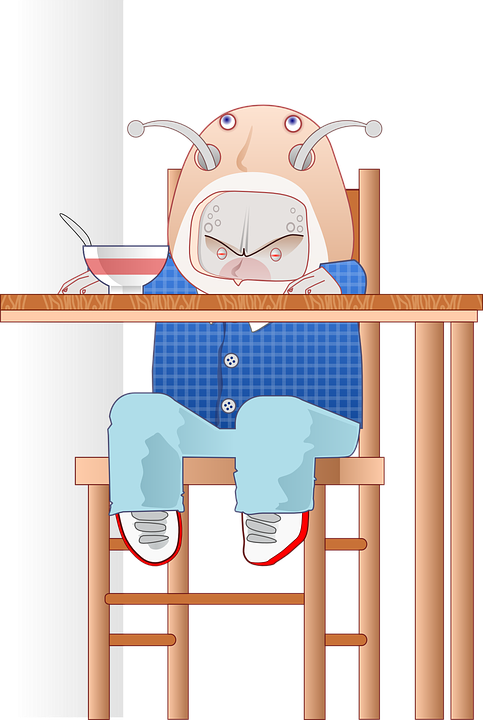 Alien, Baby, Eating, High Chair, Creature, Cartoon