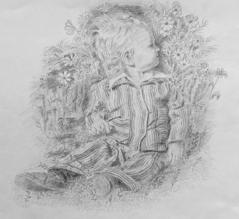 Baby, Drawing, Sketch, Portrait, Childhood, Kid, Child