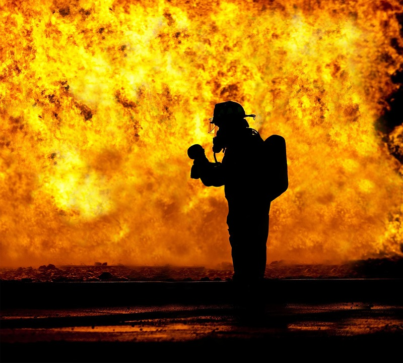 Fire Fighter, Rescue, Baby, Held, Hard, Fire, Inferno