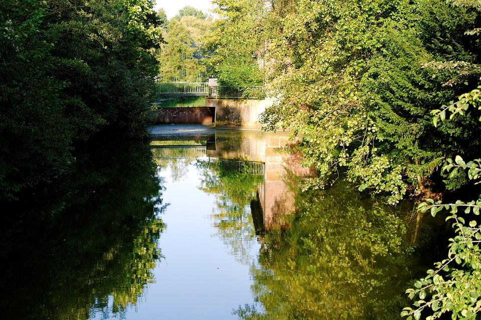 Bach, Evening Sun, Water, Water Running, Bridge