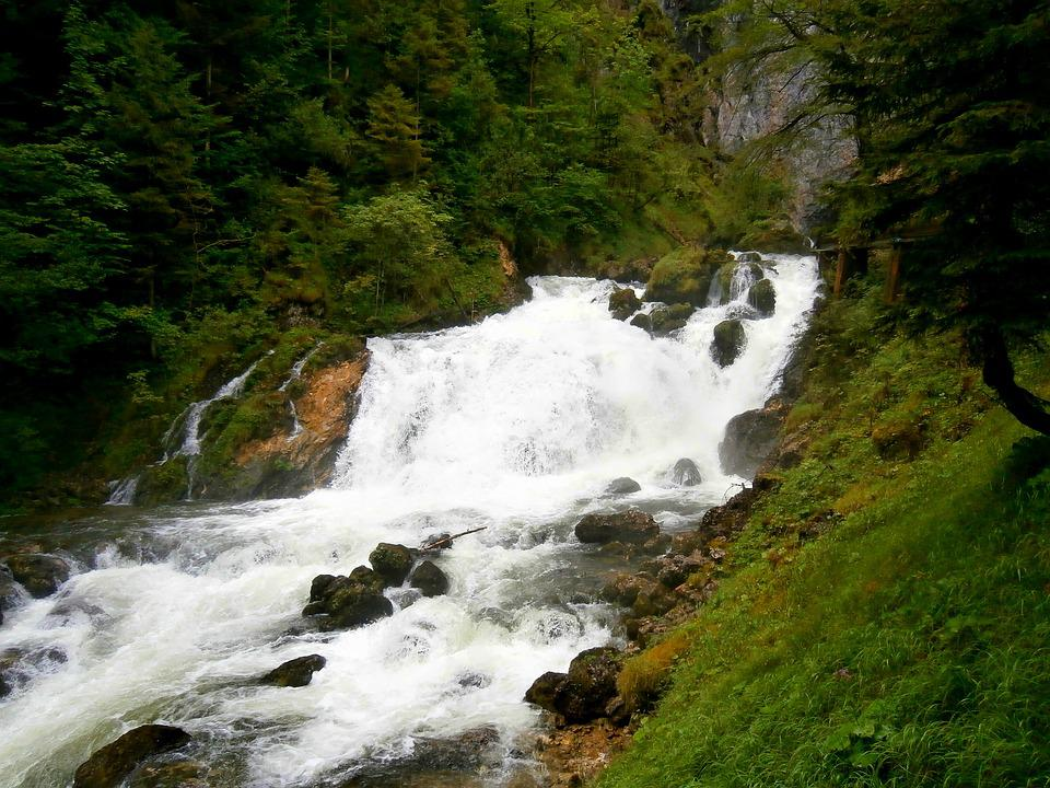 Waterfall, Water, River, Landscape, Bach, Waters