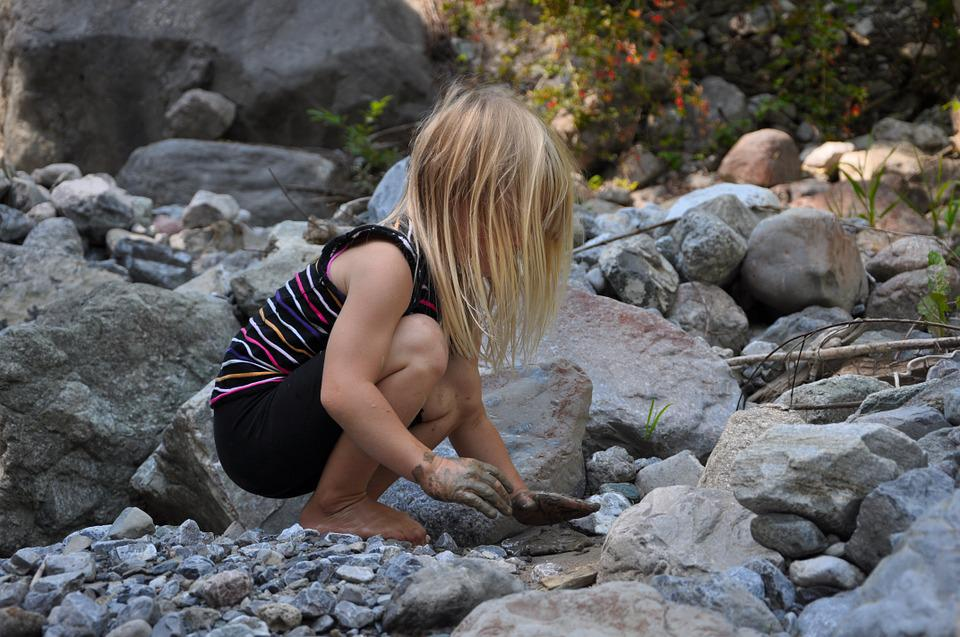 Child, Girl, Play, Bach, Water, Stones, Mud