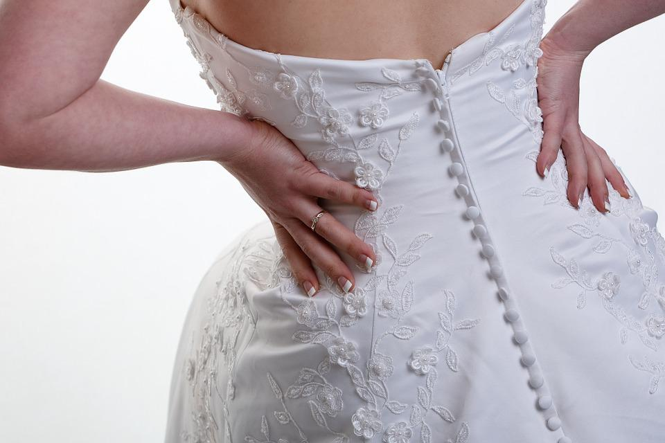 Wedding Dress, Back, Buttons, Embroidery, Wedding