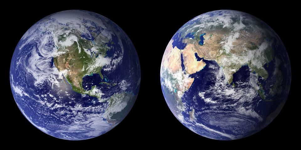 Earth, Planet, Front Side, Back, Continents, Globe