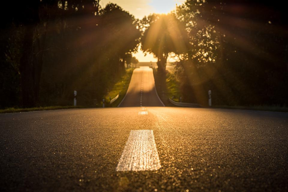 Road, Sunset, Back Light, Landscape, Abendstimmung