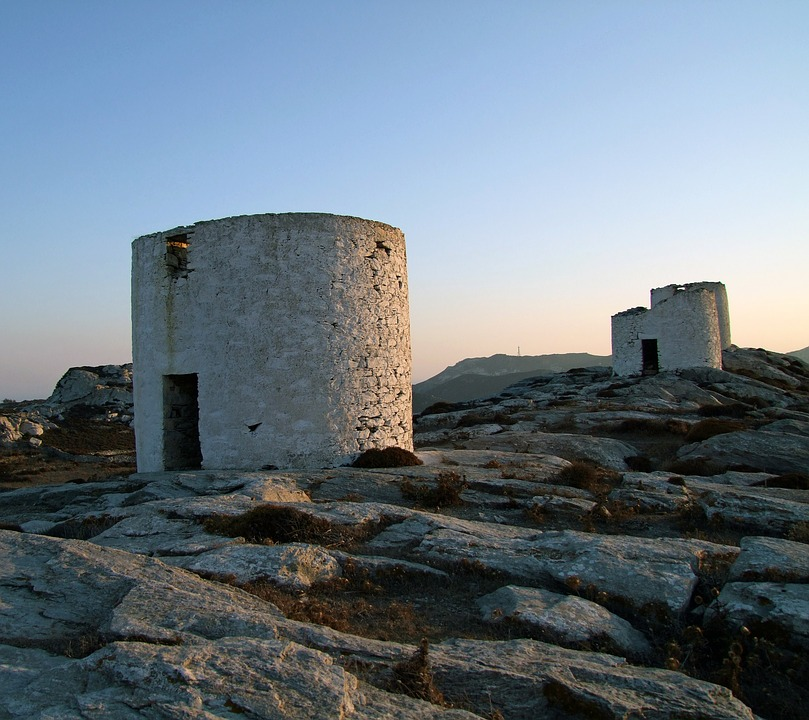 Greece, Mills, Ruins, Tower, Back Light, Old, Amorgos