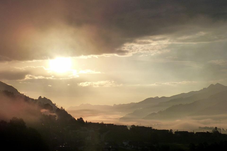 Morgenstimmung, Clouds, Mountains, Back Light, Village
