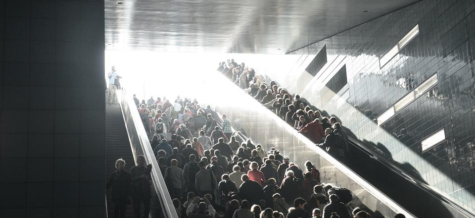 Crowd, Stairs, City, Live, Escalator, Back Light