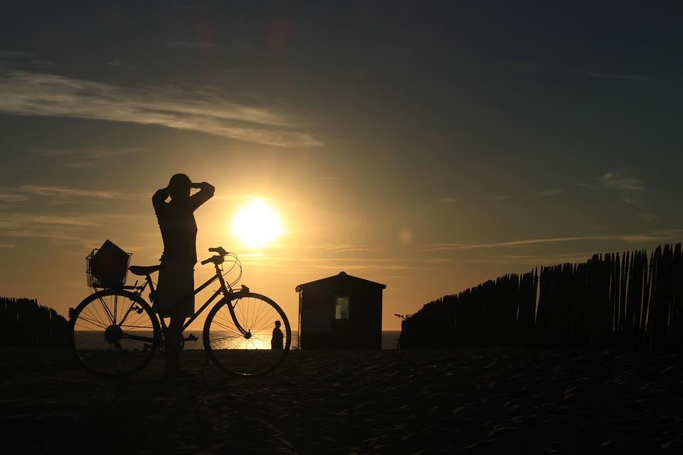 Sunset, Woman, Silhouette, Back Light, Beach