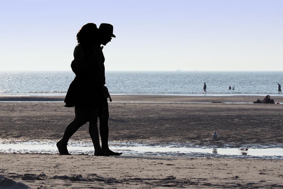 Beach, Back Light, Human, Coast, Water, Sea, Mood
